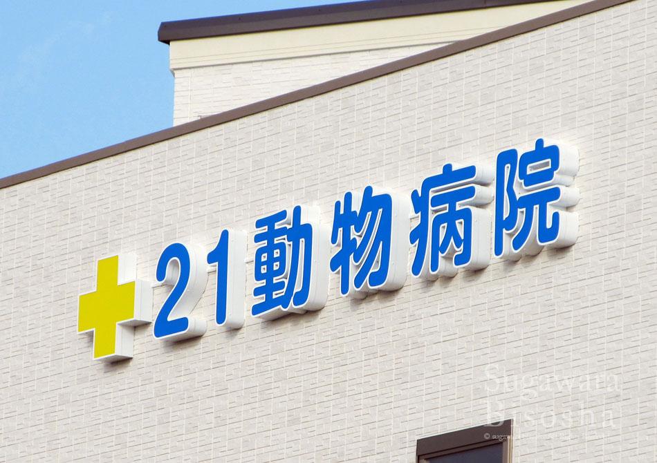 21動物病院 様 プレミアムLED表面発光文字 新規開業実績2